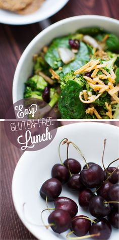 Quick Gluten-Free, Vegan Lunch:  Sweet & Savory Broccoli Salad, side of flax crackers, & freshly picked cherries for dessert.