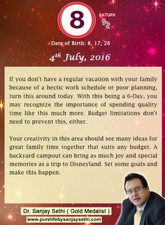 #Numerology predictions for 4th July'16 by Dr.Sanjay Sethi-Gold Medalist and World's No.1 #AstroNumerologist.