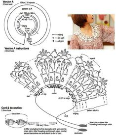 Crochet Collar Pattern, Crochet Lace Collar, Crochet Lace Edging, Crochet Borders, Crochet Shawl, Crochet Yarn, Crochet Flowers, Crochet Patterns, Crochet Scarves