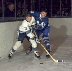 ALLAN STANLEY WAS ALWAYS A DIFFICULT OBSTACLE ON THE LEAFS BLUE-LINE; IN THE PHOTO ABOVE, HE PESTERS KEN SCHINKEL OF THE PITTSBURGH PENGUINS ON DEC. 13, 1967, DURING PENGUINS FIRST-EVER VISIT TO TORONTO.