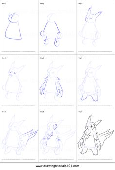 How to Draw Zangoose from Pokemon printable step by step drawing sheet : DrawingTutorials101.com