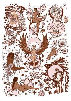 RAYCH PONY GOLD / ILLUSTRATION / KILLER LADIES / FINE ART PRINT / FLASH / WOMEN / FEMINISM #beautytatoos