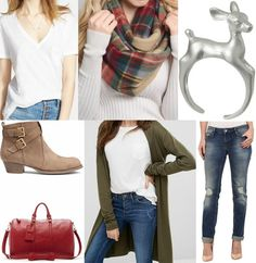 """Let's Go to the Cabin"" #fall #bain #lets #go #autumn #plaid #scarf #cozy #deer #booties #red #green"