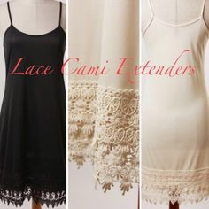 """CAMI SLIP EXTENDERS IN BLACK OR NATURAL Beautiful Cami Slip Extenders with tiered Venice lace trim at bottom. Made in USA 100% polyester. Length from high point of shoulder to hem. ♦️S: 37""""♦️M: 37.50""""♦️L: 38.25"""" tla2 Intimates & Sleepwear Chemises & Slips"""