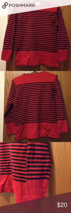 """Jones New York Long Sleeve Top Red and Navy Striped. Excellent condition. 100% cotton. Banded bottom with side slits. 4 gold buttons on shoulder. Sleeves are 20"""". 19"""" from armpit to armpit. 16"""" long from armpit. Not from a smoke-free house. Jones New York Sport Tops"""
