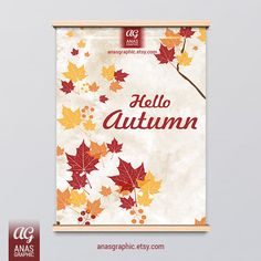 Fall Autumn Leaves Digital Wall Art Digital by anasgraphic on Etsy