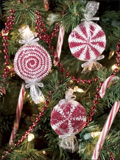 Crochet - Christmas Patterns - Peppermint Candy Ornaments