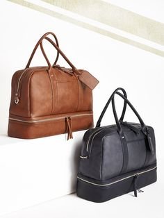 Trade in your straw tote for a duffel in rich vegan leather.