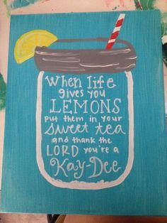Kappa Delta Lemonade Canvas on Etsy, $20.00