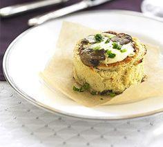 Make-ahead mushroom soufflés
