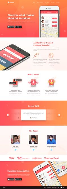 Dribbble - aidmaid_landing_page.jpg by Ibnu Mas'ud