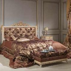 Bed with capitonné headbord and rich carvings handmade in Italy, laquered with gold details as the night tables. White And Silver Bedroom, Silver Bedroom Decor, Gray Bedroom Walls, Bedroom Art, Bedroom Ideas, Master Bedroom, Baroque Bedroom, Victorian Bedroom, Cheap Bed Sheets