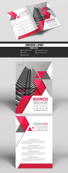 Brochure Cover Layout with Gray and Red Accents 5. Buy this stock template and explore similar templates at Adobe Stock | Adobe Stock. #Brochure #Business #Proposal #Booklet #Flyer #Template #Design #Layout #Cover #Book #Booklet #A4 #Annual #Report| Brochure template | Brochure design template | Flyers | Template | Brochures | Flyer Background | Background design | Business Proposal | Proposal Design | Booklet | Professional | Professional - Proposal - Brochure - Template