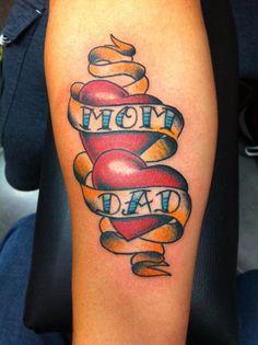 Traditional Mom & Dad Tattooed by Jeremy Stewart, Pinnacle Tattoo, Corpus Christi, TX. #tattoo