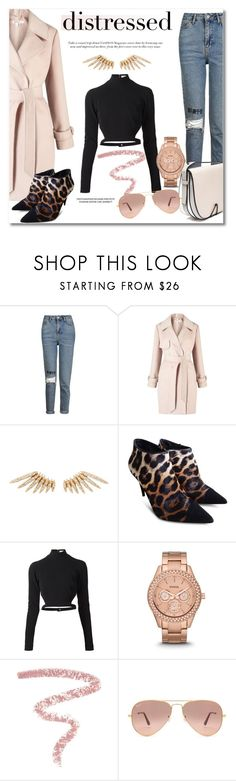 """""""Distressed Denim"""" by vkmd ❤ liked on Polyvore featuring Topshop, Miss Selfridge, Celine Daoust, Giuseppe Zanotti, Thierry Mugler, FOSSIL, Bobbi Brown Cosmetics, Ray-Ban and distresseddenim"""