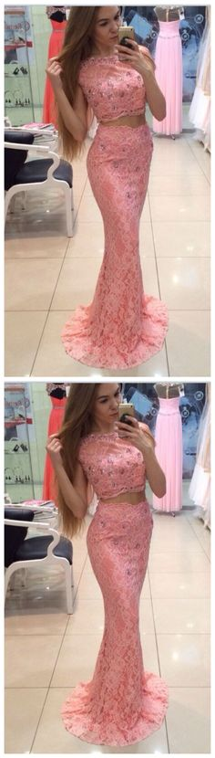 Simple Prom Dresses, two piece pink prom dresses wedding party dresses two pieces prom dresses mermaid prom dresses lace prom dress evening dresses cute dresses long prom dresses for teens Mermaid Prom Dresses Lace, Pink Prom Dresses, Cute Dresses, Homecoming Dresses, Graduation Dresses, Formal Dresses, Sweater Dresses, Prom Gowns, Dresses Dresses