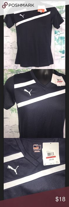 "Puma Esito Women's Jersey Size XS: Navy Blue Puma Esito Women's Jersey     New with Tags Color Navy-White  Size XS   Armpit to armpit 17"" Shoulder to shoulder 15"" Full Length 25""   Shell 1: 100% Polyester  Shell 2: 100%  Polyester   100% Authentic Any Questions feel free to message me, customer satisfaction is my priority. Positive Feedback Ratings will be appreciated. Puma Shirts Tees - Short Sleeve"