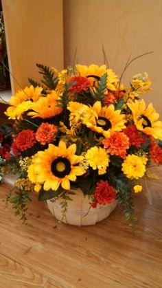 Sunflower fall basket arrangement