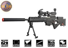 The futuristic Elite Force H&K AEG is designed as a DMR, allowing it to take longer range shots than a standard carbine. An excellent rifle for futuristic cosplay loadouts. Airsoft Sniper, Airsoft Gear, Zombie Apocalypse Gear, Muzzle Velocity, Paintball Guns, Air Rifle, Performance Parts, Self Defense, Firearms
