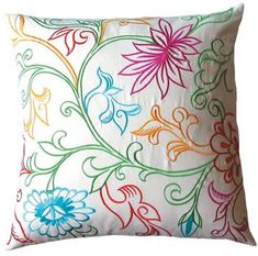 I want to make this lovely embroidered pillow for my patio swing, love the colors! Flower Embroidery Designs, Hand Embroidery Patterns, Embroidery Stitches, Machine Embroidery, Cushion Embroidery, Embroidered Cushions, Cushion Cover Designs, Fabric Painting, Hobbies And Crafts