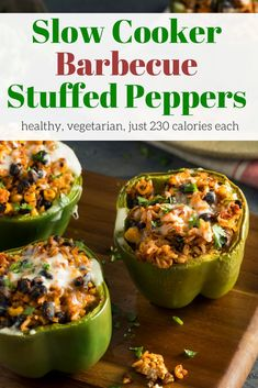 Slow Cooker Vegetarian Barbecue Stuffed Peppers - Slender Kitchen. Works for Clean Eating, Gluten Free, Vegetarian and Weight Watchers® diets. 228 Calories.
