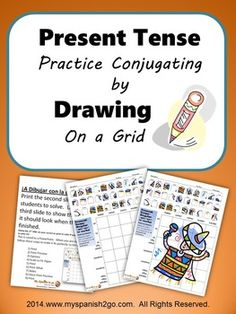 Students draw what they see in the little square reference for the present tense onto the conjugation grid to create a picture.  Cute, fun, and great practice for conjugating!