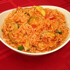 Vegetarian Dinner Recipe: Zucchini and Rice in a Stewed Tomato Sauce