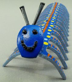 Blue Centipede Caterpillar Yard Art Metal by OurUniquePerspective, $40.00