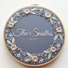 @namaste_embroidery Name embroidery hoop art