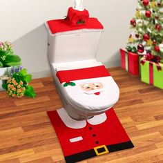 Christmas Toilet Seat Cover - Brand: FOMO Features Toilet seat cover and rug set fit standard round and oval toilet lid Christmas Bathroom Decoration Id.