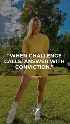 """When challenge calls, answer with conviction."" - Gymshark. Save this to your motivation board for a reminder! #Gymshark #Quotes #Motivational #Inspiration #Motivate #Phrases #Inspire #Fitness #FitnessQuotes #MotivationalQuotes #Positivity #Routine #HealthyMindset #Productive #Aspiration #Wellness #LifeGoals"