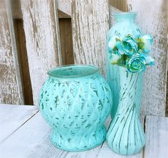 Rustic painted vases