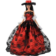 A Bold Red Ball Gown with Lots of Little Sequins in Red Made to Fit the Barbie D