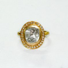 14kt Yellow Gold and Diamond Ring Halo Style by jackjewelryinc