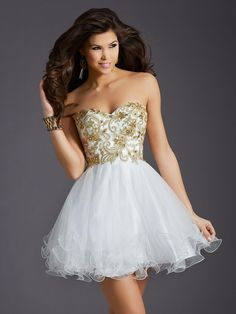2015 Clarisse Homecoming Dresses Ball Gown Gold Appliques & Beads White Tulle Sweet 16 Dresses with Sweetheart And Lace Up Short Prom Gowns from Nicedressonline,$120.7 | DHgate.com