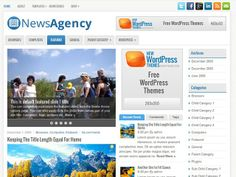 NewsAgency Free WordPress ThemeOne of the most user friendly News/Magazine themes out there, NewsAgency is compatible with the latest version of WordPress including the custom menu and background features.