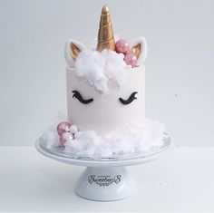 Unicorn birthday cake- love the idea of fairy floss for the mane! Beautiful Cakes, Amazing Cakes, Mini Cakes, Cupcake Cakes, Unicorn Birthday Parties, 13th Birthday, Cake Birthday, Diy Birthday, Birthday Ideas