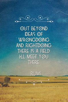 Out beyond ideas of wrongdoing and rightdoing there is a field. I'll meet you there. ~ Rumi | http://www.positivelydreaming.com