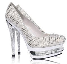 'Ice' Silver Round Toe Crystal Embellished Platform Heels
