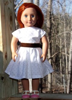 OOAK 1950s dotted Swiss dress for 18 inch von MamaCassisHandmade