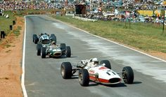 John Surtees, Jack Brabham and Pedro Rodriguez at the 1967 South African Grand Prix