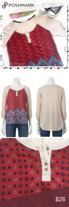 Boho 3/4 Sleeve Raglan Top This shirt is perfect for casual days when you want style and comfort. 3/4 roll tab sleeves, 5 button placket, raglan design with a hi/lo shirttail hem. Wear with your favorite denim and boots for a casual boho look.  ❌Converse low tops sold separately  ⚡️polyester/rayon ⚡️machine wash ❌ trades ❌ lowballs 👍offer button  🌟Bundle 2 or more items and save 10%🌟 Tops Tees - Long Sleeve