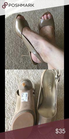 "Gold Slingback Size 7.5, heel 3.25"", never worn Nine & Co Shoes Heels"