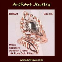 R58020 Size 8.5 White Sapphire Austrian Crystal 14k Rose Gold Filled Ring