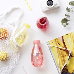 Summer in a bottle on this fine spring day!Welcoming the weekend with some fruity Evian water - raspberry + verbena is already down!❤#evianfruitsandplants