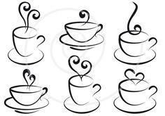 Coffee and tea cups with hearts, digital clip art, clipart set, logo design, gra… Coffee Cups, Tea Cups, Coffee Menu, Coffee Plant, Coffee Creamer, Hot Coffee, Tea Cup Art, Cheap Coffee, Starbucks Coffee