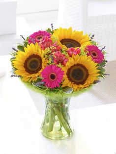Sunflowers shout summer, A perfect summer gift bouquet in yellow and pink from Venus Flowers, Manchester, UK. Best Flower Delivery, Flower Delivery Service, Online Flower Delivery, Valentines Flowers, Mothers Day Flowers, Anniversary Flowers, Gift Bouquet, Order Flowers Online, Christmas Flowers
