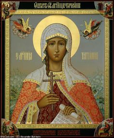 Saint Tatiana of Rome, Deaconess and Martyr. Russian icon by Alexander Bukharin. Wood panel. Levkas, tempera, gold leaf  - 16 Inches x 12 Inches.