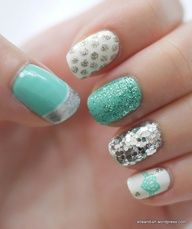 Silver and mint nails...the only 'out there' nails I would do!