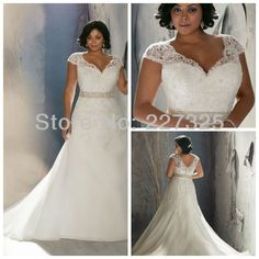 LK121 Custom Made two shoulder a long train lace appliques plus size wedding dress tea length $380.00